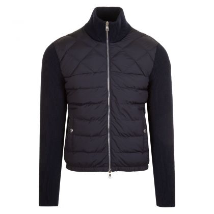 Moncler Padded Nylon Front Zip Up Knitwear
