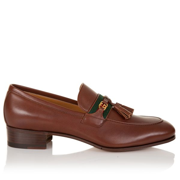Gucci Interlocking G Web Stripe Tassle Loafers