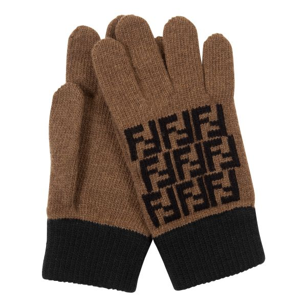 Fendi FF Motif Knit Gloves