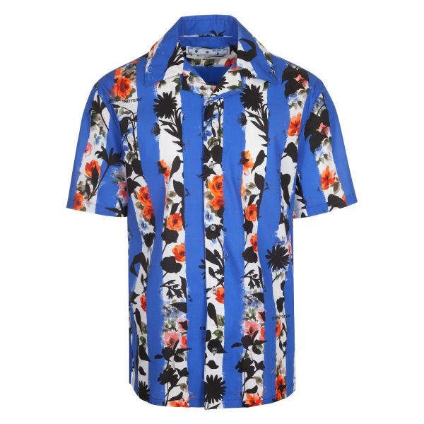 Off White Stripes Flower Print Holiday Shirt