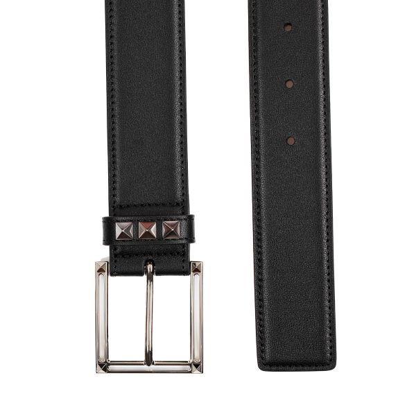 Valentino Garavani Studded Buckle Leather Belt