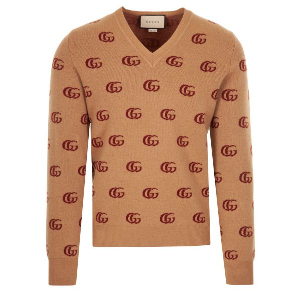 Gucci Double G Jacquard Wool V-Neck Knitwear