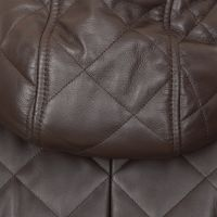 Dolce & Gabbana Quilted Logo Plaque Leather Hooded Jacket